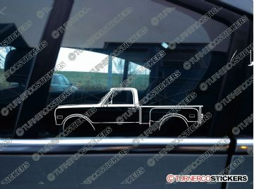 2x Car Silhouette sticker -  Chevrolet C10 stepside 1967-1972 classic truck